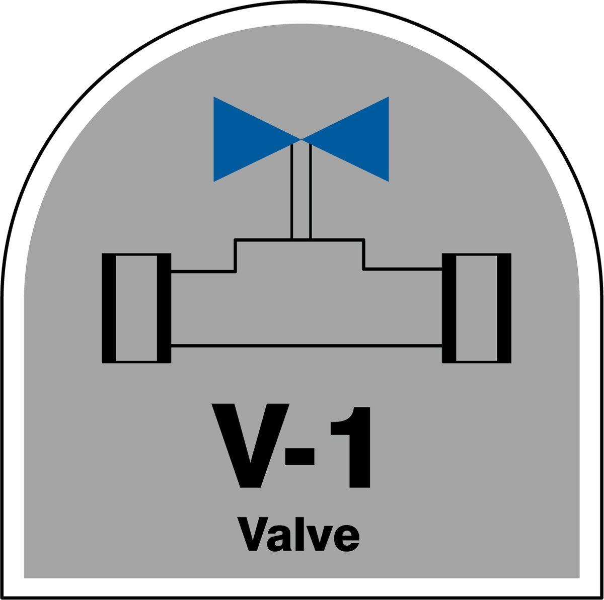 2-1//2 W x 2-1//2 L Black//Blue//White on Gray 2-1//2 W x 2-1//2 L Accuform TDJ201XVE Adhesive Dura-VinylV-1 Valve Energy Source Shape ID Tag