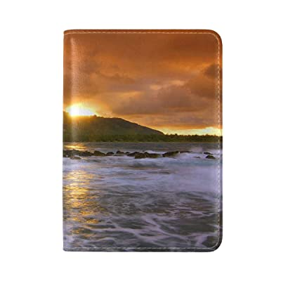 Decline Sea Waves Clouds Island Land Leather Passport Holder Cover Case Travel One Pocket