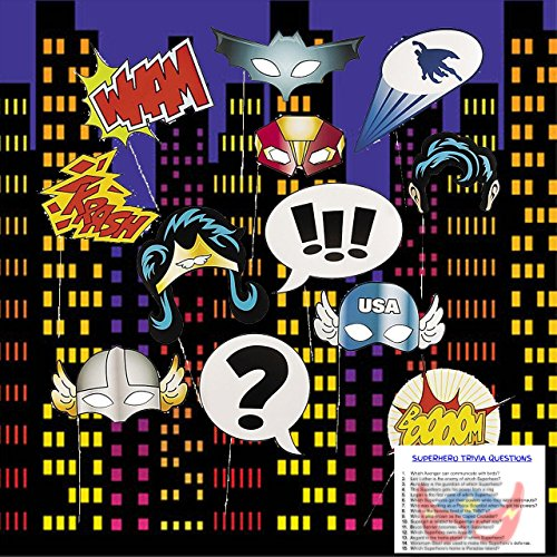Superhero Party Decorations - Super Hero Photo Booth Props (12 pieces), City backdrop decoration for wall and Superhero Trivia Questions by PartiFun