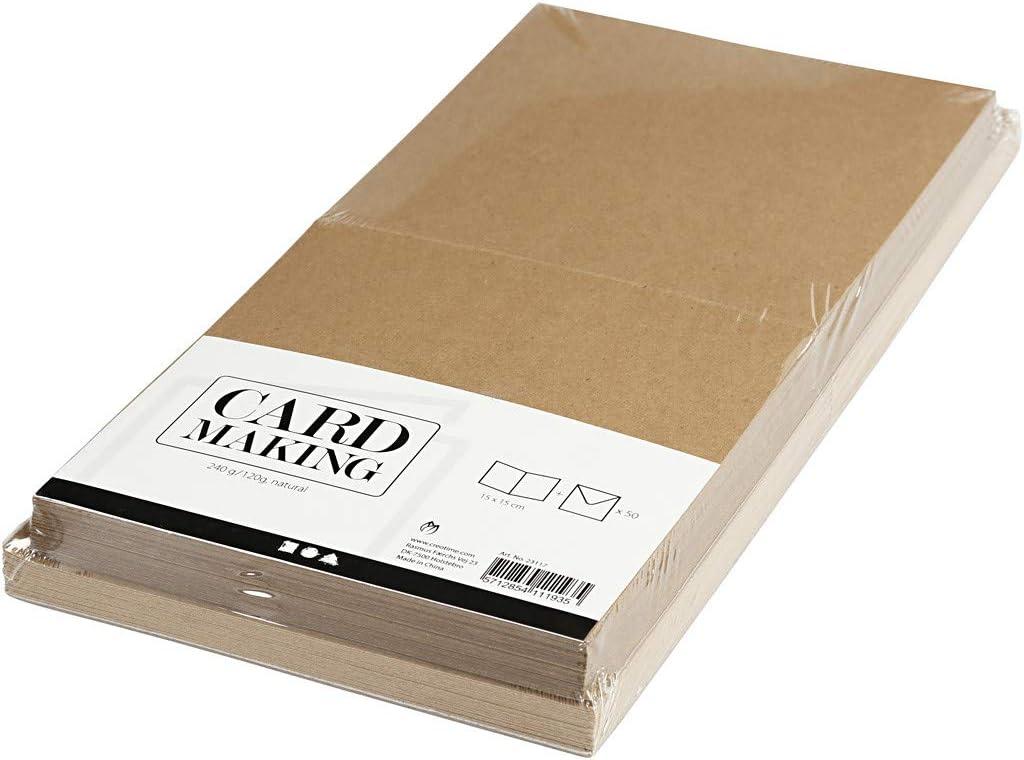 Tarjetas y sobres, tamaño de la tarjeta: 15 x 15 cm, tamaño del sobre: 16 x 16 cm, color natural, 50 unidades: Amazon.es: Oficina y papelería