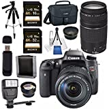 Canon EOS Rebel T6s DSLR Camera with 18-135mm Lens + Canon EF 75-300mm Lens + 58mm Wide Angle Lens + 58mm 2x Lens + Canon 100ES EOS Shoulder Bag Bundle