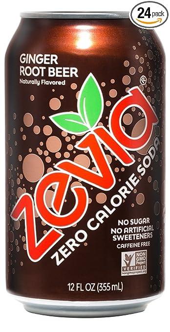 a can of zevia ginger root beer zero calorie soda