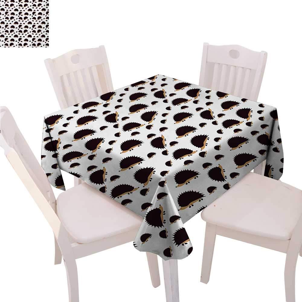 Hedgehog 汚れにくい しわ加工テーブルクロス Atelerix Albiventris 写真 母と子供の愛と家族テーマ 正方形 しわ防止 テーブルクロス 36インチx36インチ ブラウン アイボリー 70