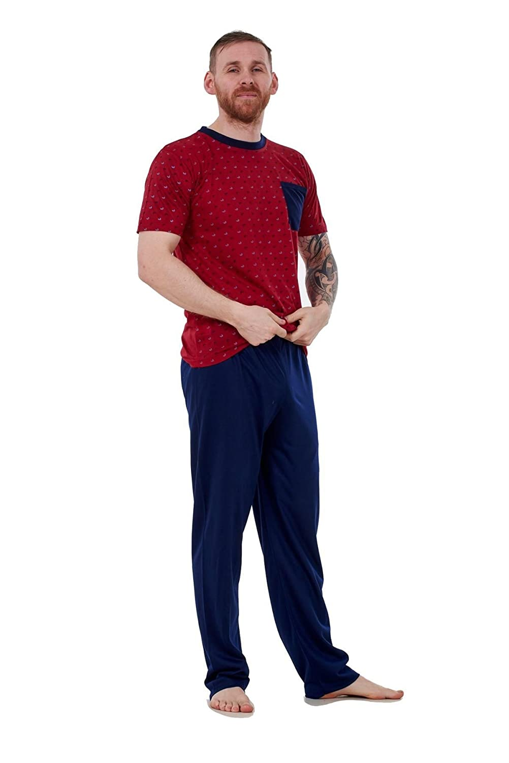 Bay eCom UK Mens Pyjama Sets Jersey Crew Neck Pocket Lounge Sleepwear Soft PJ's M To XXL Does not Apply
