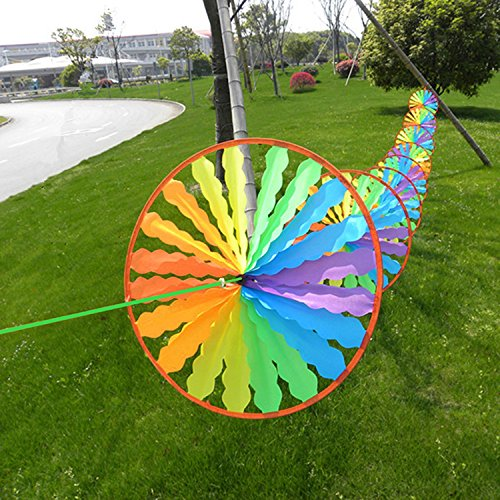 Rainbow Wheel Windmill Wind Spinner Yard Decoration Whirligig Garden Home Lawn for kids for fun in the garden or outdoors (Air Dancer Costume For Sale)