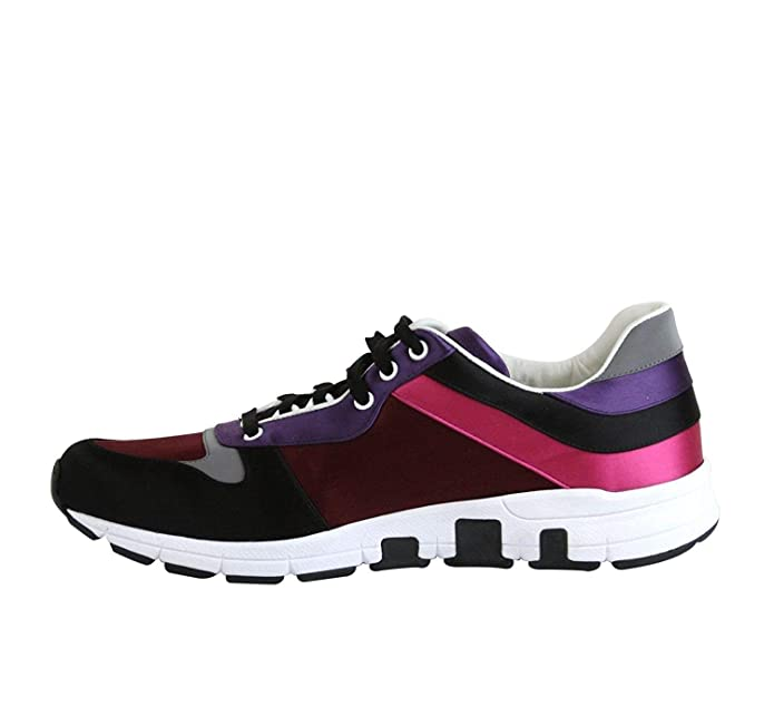 e2b36336e Amazon.com: Gucci Men's Black/Red Satin Lace up Trainer Sneakers 336613  1062 (11.5 G / 12 US): Shoes