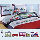 NEWLAKE 100% Cotton Train Shaped Toss Pillow Kids Bed Decor Little Boys Toy as Christmas Gift