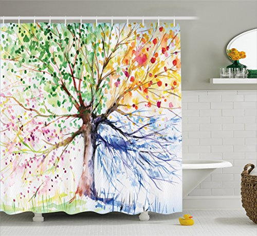Four Seasons - Shower Curtain - Berry Green Red Yellow Navy Brown - Water, Soap, and Mildew...