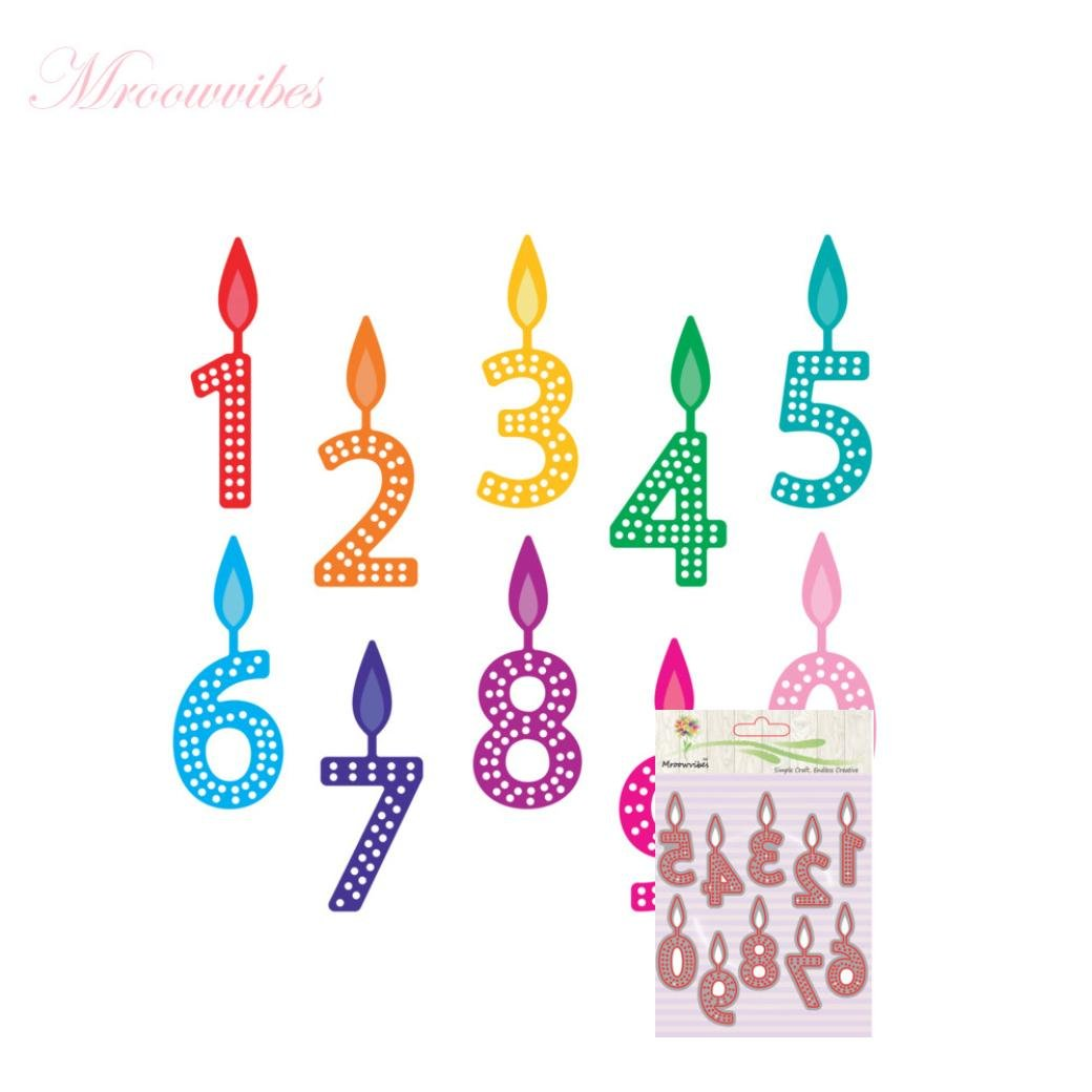 Cutting Dies Christmas, Number Birthday Candle Metal Cutting Dies Card Making Scrapbooking Stencils Album Paper Card Craft Embossing DIY Decorative Background