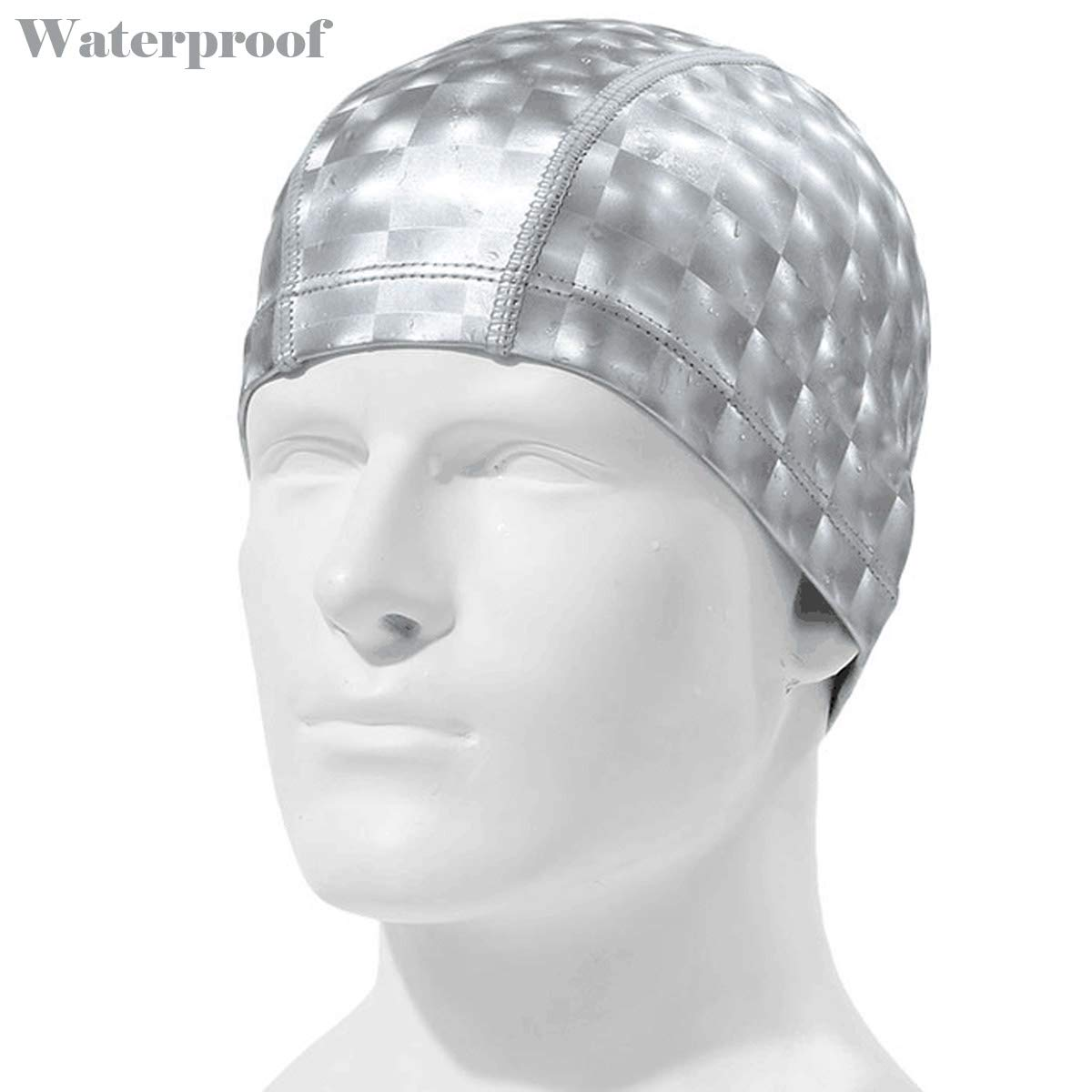 Quality Yes Silver Extra Large Waterproof Soft Cloth Swim Cap Ear Protection Swimming Cap Long Hair Swimming Hat