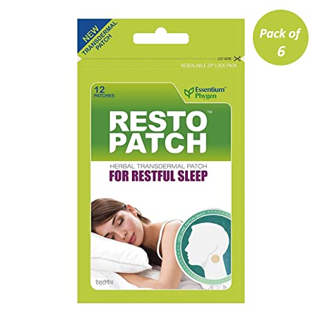 Essentium Phygen Restopatch, Natural Sleep Patch with Melatonin and Herbal  Ingredients, Promotes Restful Sleep - 12 Patches (Pack of 6)