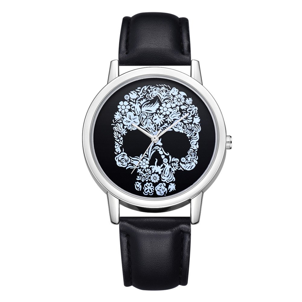 Clearance Watches for Women Wugeshangmao Girl's Fashion Analog Quartz Watch, Ladies Luxury Skull Leather Band Quartz Analog Watch Business Casual Watch Gift