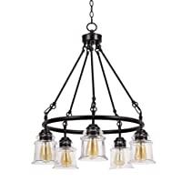 Stone & Beam Modern Farmhouse Round Chandelier With 5 LED Deals