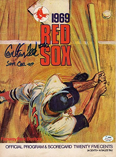 Carlton Fisk Autographed 1969 Boston Red Sox Program #40 on Roster SGC Red Sox - Boston Red Sox Roster