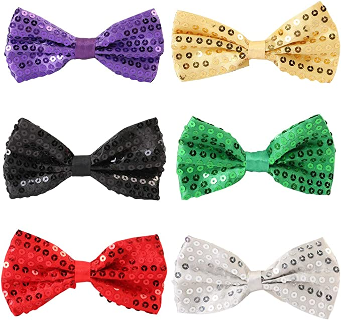 QincLing 6 PCS Sequins Bow Tie