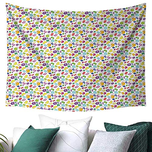 WilliamsDecor Numbers Tapestry for Bedroom Bubble Style Numbers Equation Division Addition Multiplication Themed Children Math Gift for Sheet/Blanket 84W x 70L Inch Multicolor ()