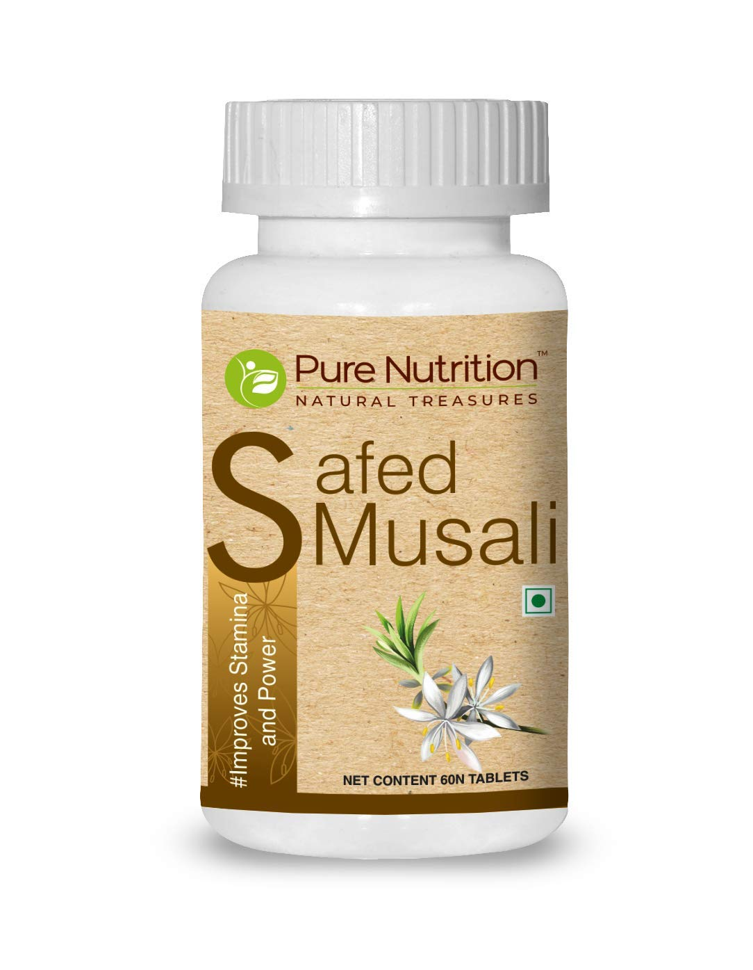 Pure Nutrition Safed Musli Root Extract 500mg (Asparagus Adscendens 40% Saponins) - 60 Veg Tab - Non GMO | Gluten Free