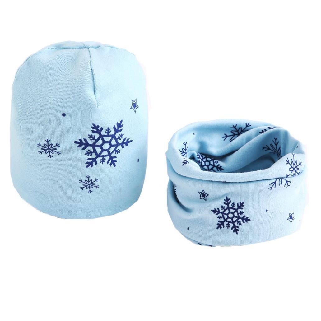 CHshe Boys Girls Cute Snowflake Cotton Scarf+Hat Set