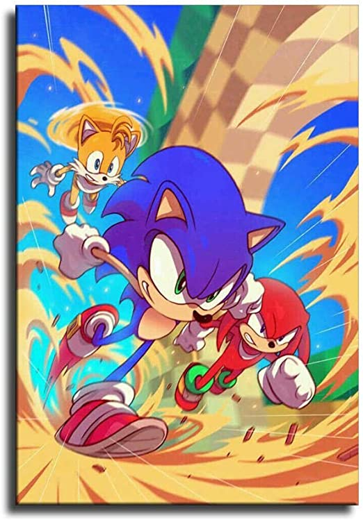 Amazon Com Sonic The Hedgehog Canvas Art Poster And Wall Art Picture Print Modern Family Bedroom Decor Posters4 Home Kitchen