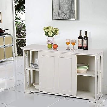 Yaheetech Küchenschrank Küchenmöbel Küche Schrank Regal Weiß Mit 2