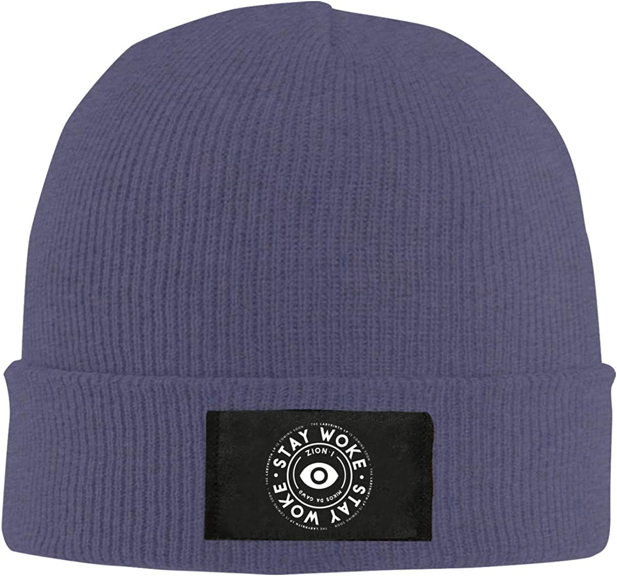 Stay Woke Logo Top Level Beanie Men Women Unisex Stylish Slouch Beanie Hats Black