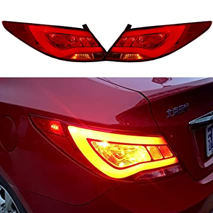 Amazon.com: Scitoo Red Clear LED Tail light Rear Lamp fit 2012 2013 2014 2015 Hyundai Accent Verna Solaris Pair Set: Automotive