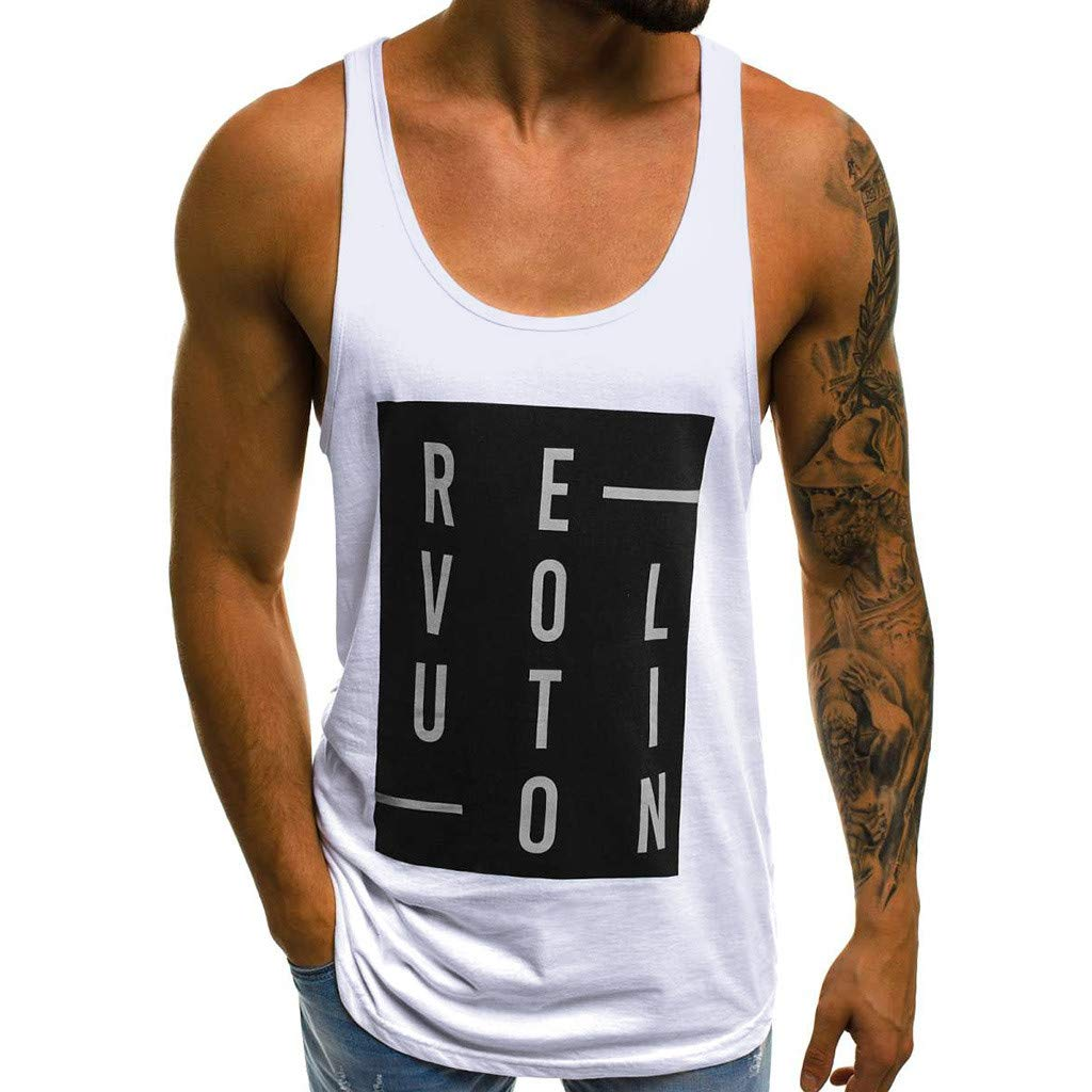 Forthery Men Gym Tank Tops Workout Fitness Muscle Letter Printed Sleeveless Vest(White,US Size S = Tag M)