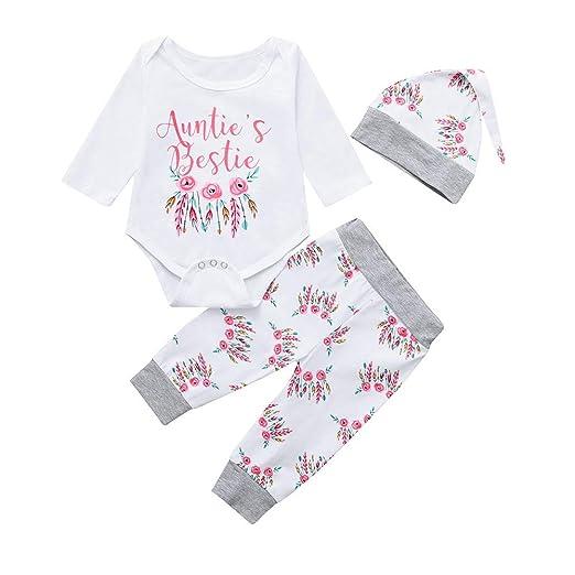 32e276c0153 Amazon.com  Oldeagle 3PCs Baby Girls Auntie s Bestie Letter Floral Print Romper  Jumpsuit+Pants+Hat Baby Outfits Set  Clothing