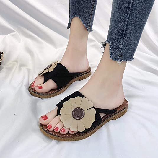 Amazon.com | OrchidAmor Fashion Women Summer Roman Flowers Slippers Round Toe Flat Retro Beach Slippers | Slippers