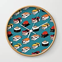 Society6 Sushi Frenchie Wall Clock Natural Frame, White Hands