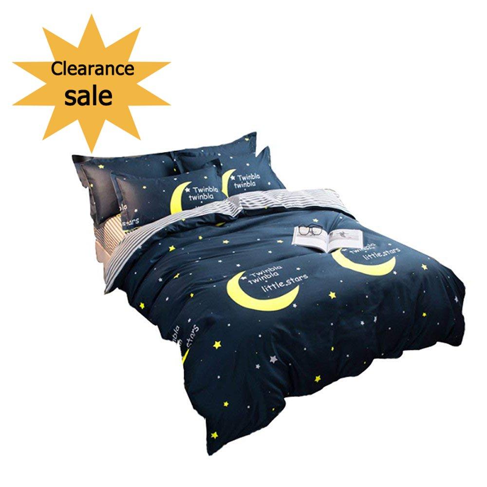 Tealp 3-Piece Galaxy Stars Printed Design Full Bed Bedding Sets(No Comforter) Soft Microfiber Duvet/Comforter Cover Set With 2 Pillow Shams