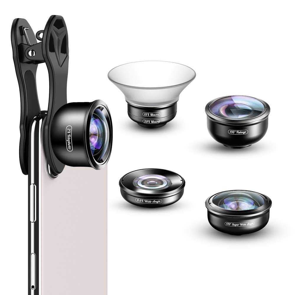 APEXEL Phone Lens Kit,5 in 1 Camera Lens Kit 170°Super (Fisheye)Wide Angle,15X-20X Macro Lens,2.0X Zoom Telephoto,0.6X Wide Angle,198°Fisheye Lens for iPhone XR/XS/XS MAX/X/8 7 6 Plus,Android,Samsung by Apexel