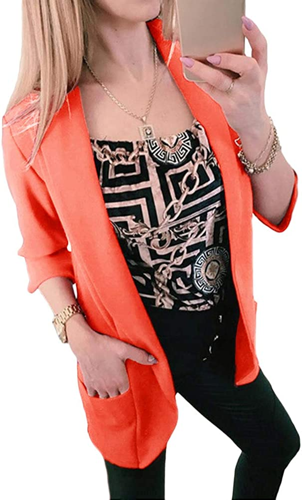 Tomwell Damen Blazer Elegant Mantel mit Knopfleiste Military Kurz Blazer Stehkragen Business B/üro Anzug Jacken