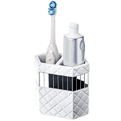 Buy Creative Scents White Bathroom Accessories Set 4 Pieces Includes Soap Dispenser Toothbrush Holder Tumbler Soap Dish Gift Packaged Finished In White And Silver Quilted Mirror Accents Online In Indonesia B01mdrwkjr