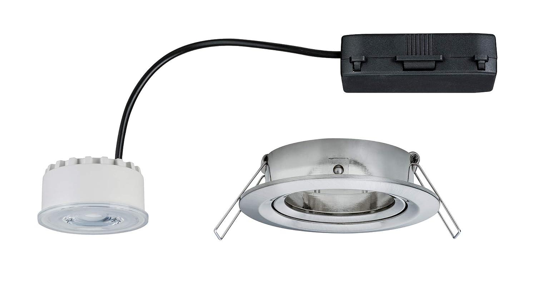 Paulmann Leuchten Paulmann 93947 LED Reflector Coin Flache Einbaustrahler 6,8W Deckenspot Eisen dimmbar und schwenkbar Akzentbeleuchtung Einbauleuchte geb/ürstet Aluminium 6.8 W