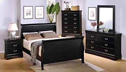 4pc Queen Size Sleigh Bedroom Set Louis Philippe Style In Black Finish