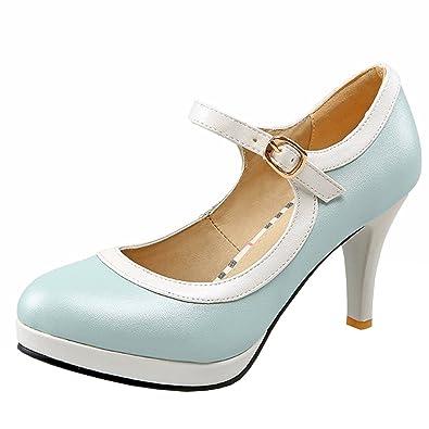 Agodor Damen Ankle Strap Blockabsatz Pumps mit Schnalle und Plateau High  Heels Riemchen Elegant Schuhe 32c6d07fb8