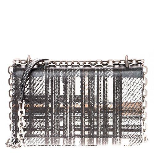 Prada Women's Tartan Print Saffiano Shoulder Bag Black White