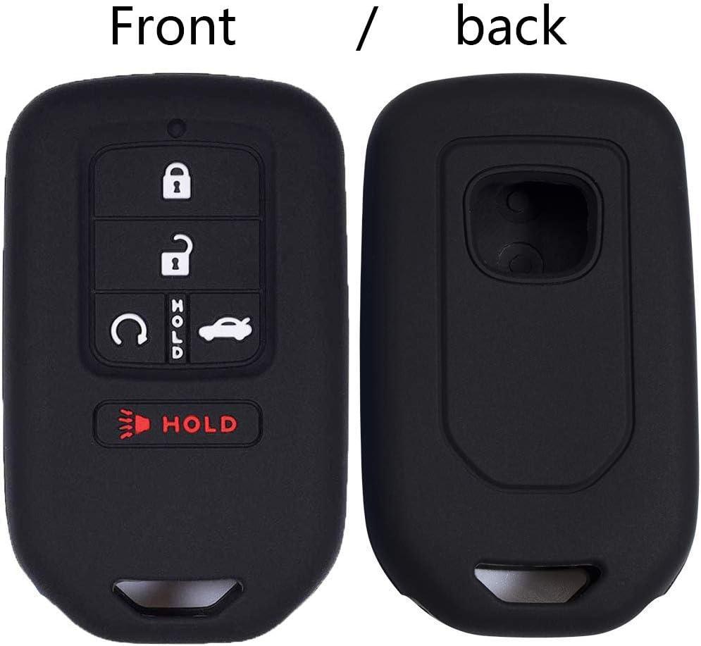 Black Black KOSMIQ 2Pcs Car Key Cover Fob Silicone Smart Case Protector for 2020 2019 2018 2017 2016 2015 Honda Accord Civic CR-V CRV Pilot EX-L