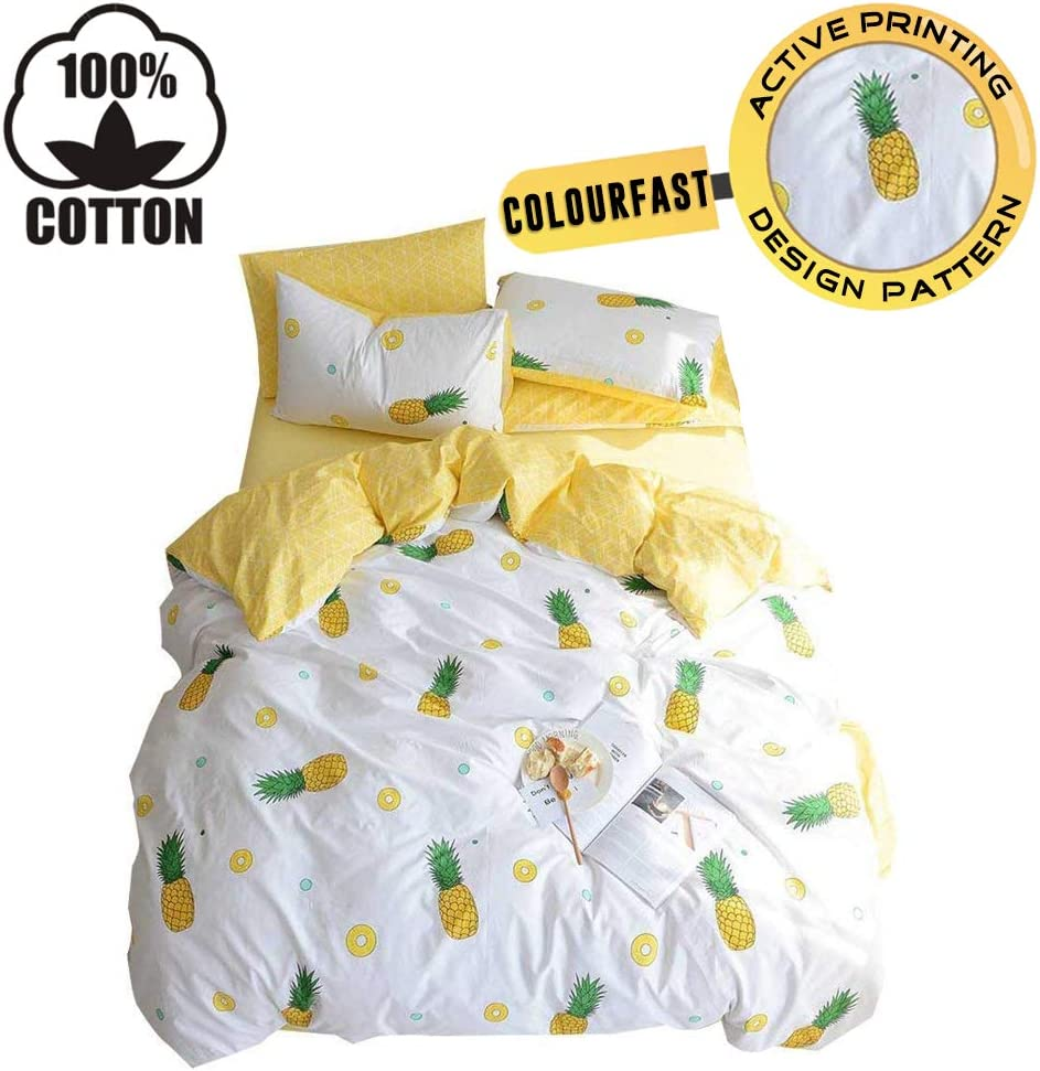XUKEJU 100% Cotton Soft Children/Adults Duvet Cover Set Yellow Fruits Printed Pattern Reversible Boys Girls Bedding Set Pineapple 3 Pieces with 2 Pillow Cases Best Bedding Gifts Twin Size