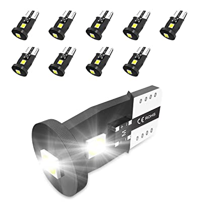 194 LED Bulbs Non-Polarity Xenon White 6000k T10 168 2825 W5W LED Replacement Bulbs for Car Dome Map Door Courtesy License Plate Lights 10PCS.: Automotive [5Bkhe1014897]