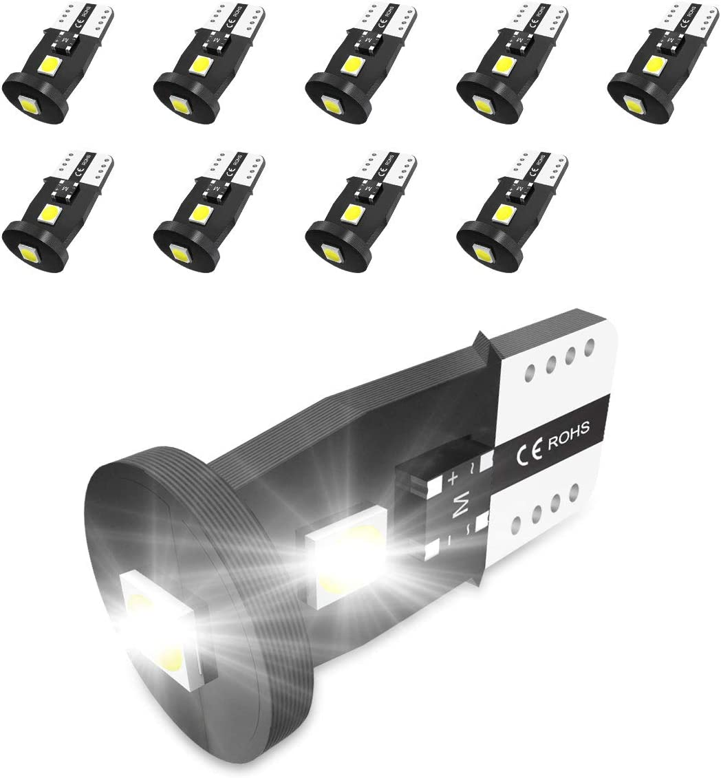 194 LED Bulbs Non-Polarity Xenon White 6000k T10 168 2825 W5W LED Replacement Bulbs for Car Dome Map Door Courtesy License Plate Lights 10PCS.