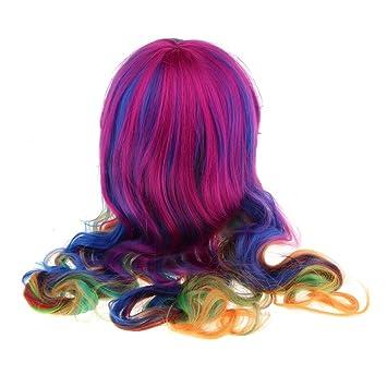 Amazon.com   Fenteer Harajuku Long Wavy Rainbow Wig Women s Cosplay ... acfd2c904
