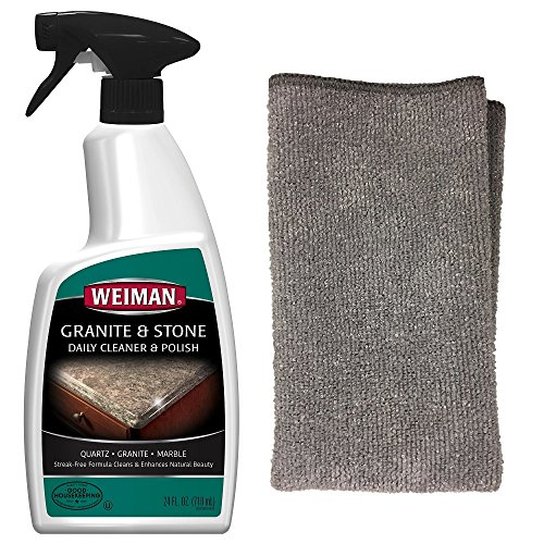 Granite Cleaning Kit - Weiman Granite Cleaner & Polish, 24 fl oz, and Weiman Microfiber Cloth