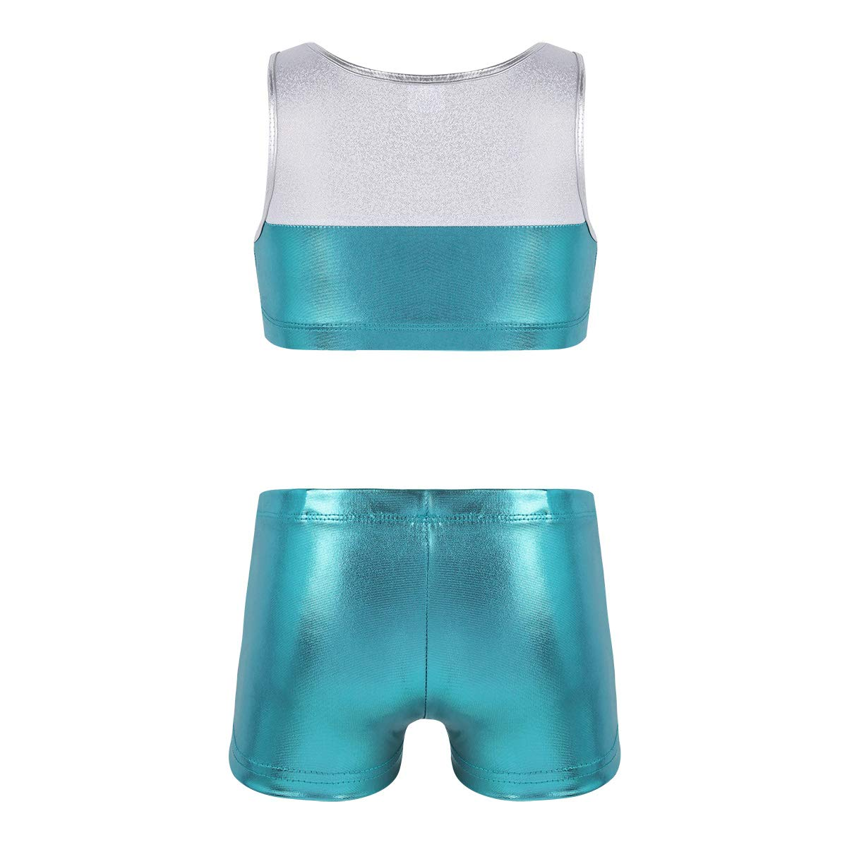 Agoky Kids Girls Top and Booty Shorts Ballet Dance Gymnastics Sports Leotard or Swimwear Swimming Costumes