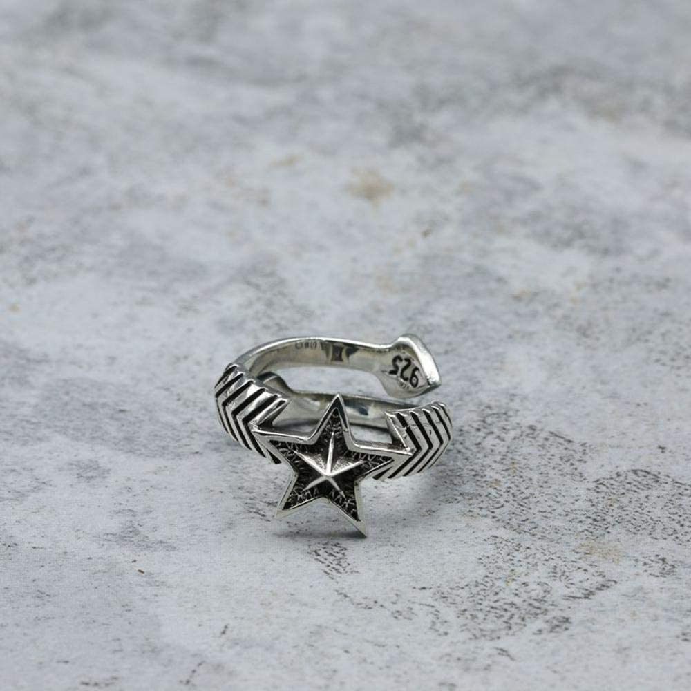 Luziang S925 Sterling Silver Men and Women Punk Rock Pentagram Love Arrow Ring-Romantic Fashion Design