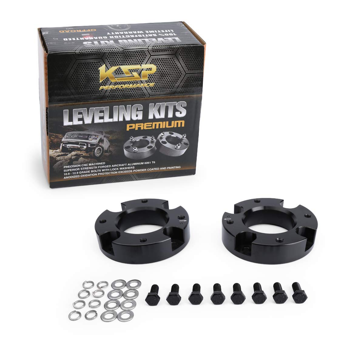 KSP Lift Kit Front 2 Aircraft Billet Strut Spacers Leveling Lift Kit for Toyota Tun dra 2WD 2X2 4WD 4X4 2007-2019