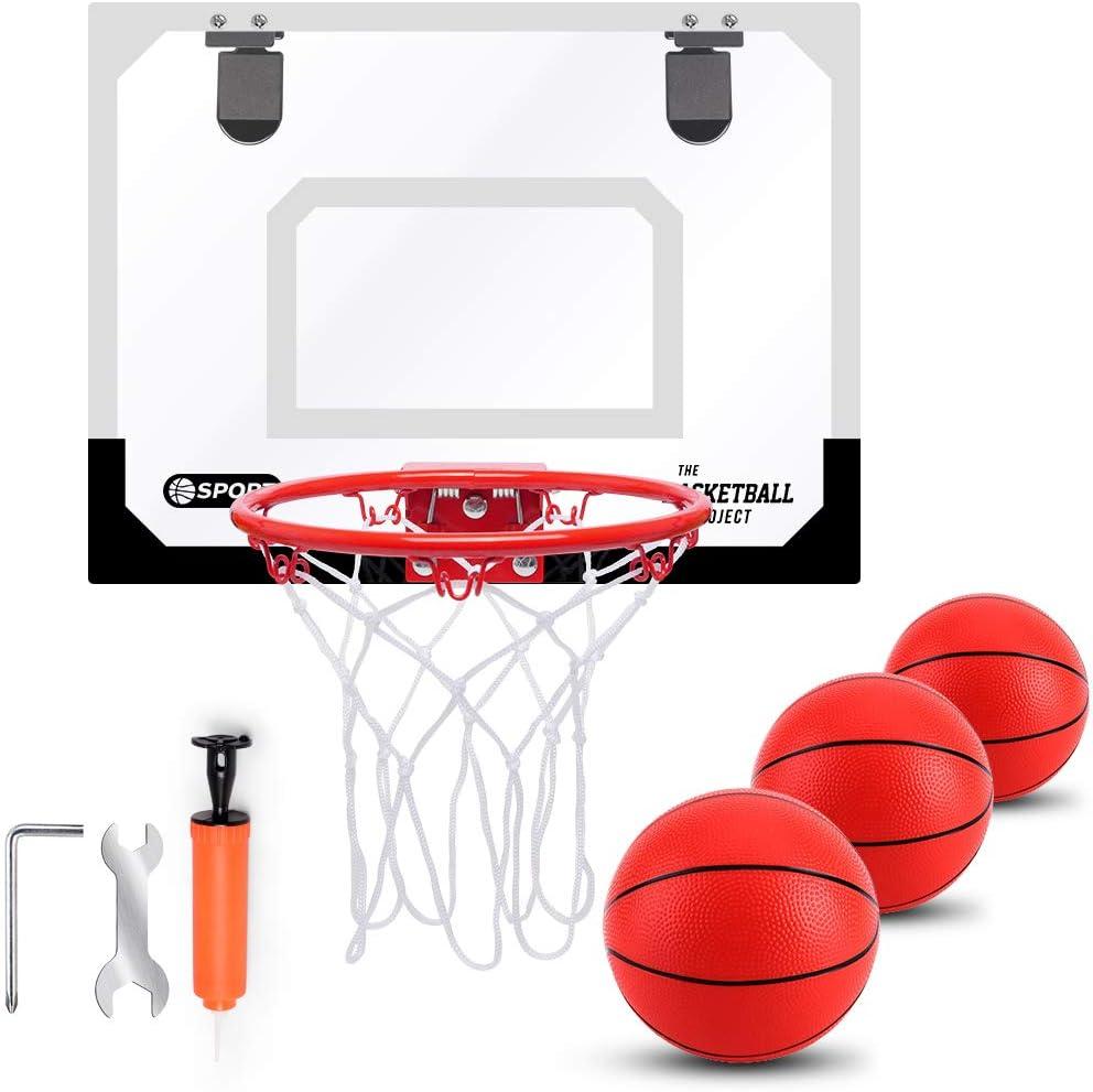 TNELTUEB Mini Basketball Hoop Set for Kids Indoor Mini Basketball Hoop for Door Wall with 3 Premium Basketballs Pump - Basketball Toy Game Gifts for Kids Boys Teens