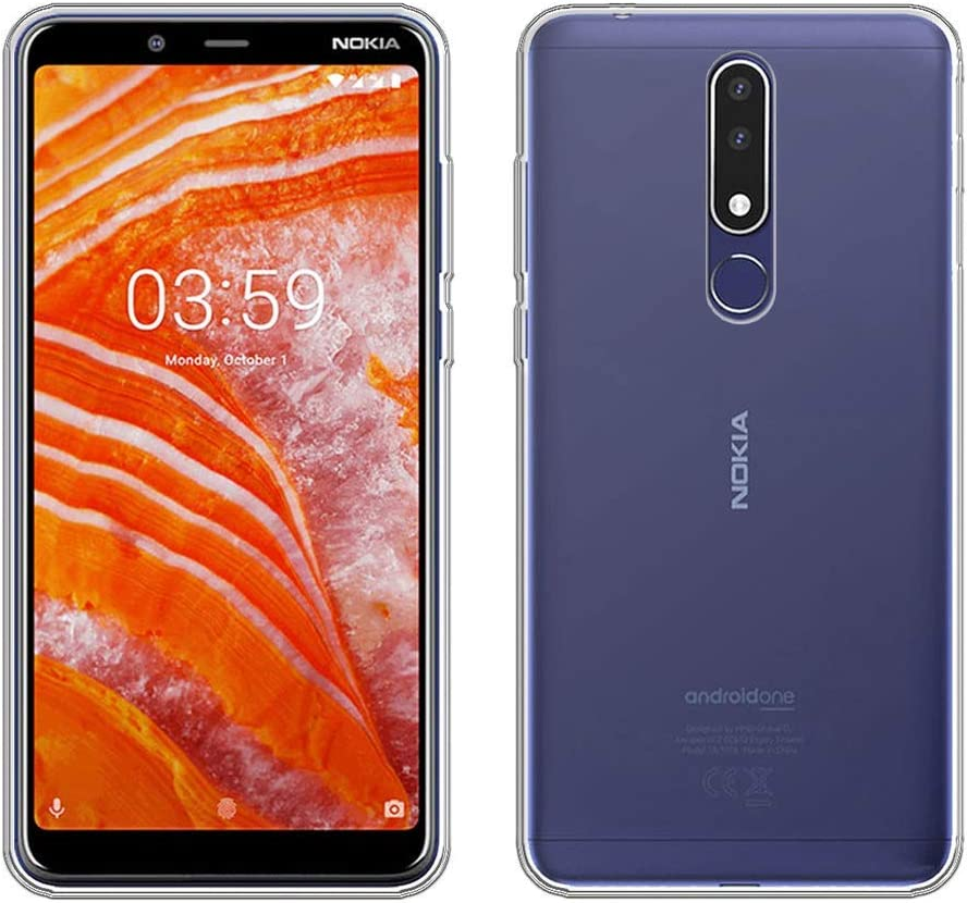 Tempered Film Glass Screen Protector AMPLE Nokia 3.1 Plus Transparent Case Silicone Soft TPU Cover Shell for Nokia 3.1 Plus 6