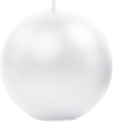 2 Dekokerzen weiß metallic Ø 8 cm rund Kugelkerze Weihnachten Weihnachtsdeko